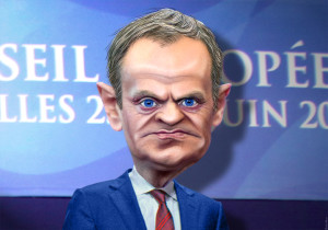 Karikatur von Donald Tusk, September 2014